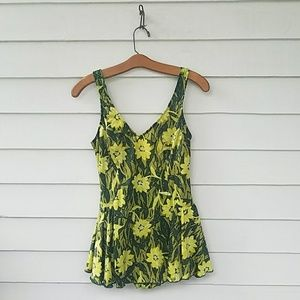 Vintage 1970s 1980s Skirted One Piece Swimsuit